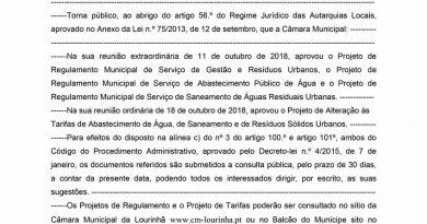 CML – Projetos de regulamento e de alteração de tarifas